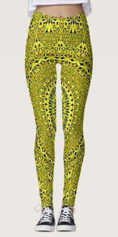 Discover Yellow leggings at Zazzle! Bohemian Style, Boho Chic, Yellow Leggings, Yoga Gifts, Yoga Fashion, Mandala Design, Leggings Fashion, Boho Outfits, Printed Leggings