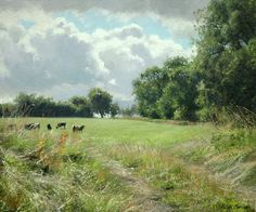 This captures my heart and feels like home! Peter Barker Paintings - The Village Field