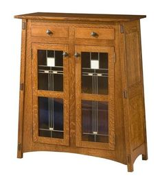McCoy Mission Solid Wood Sideboard with Stained and Leaded Glass Doors A stunning addition for dining room, the McCoy offers storage and tons of solid wood appeal. Build your custom McCoy in the wood and stain you choose. #sideboard #diningstorage #Amishfurniture
