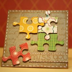 kraft card with bright puzzle pieces