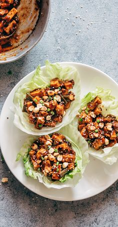 These vegetarian mapo tofu lettuce wraps double up as appetizer & dinner and use shiitake mushrooms instead of pork! Vegan and Gluten Free too. via @my_foodstory