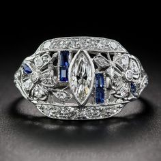 Art Deco Platinum, Diamond and Sapphire Ring