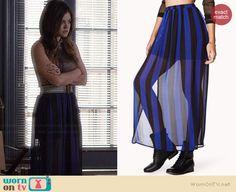 Aria's blue striped maxi skirt on Pretty Little Liars.  Outfit Details: http://wornontv.net/34903/ #PLL