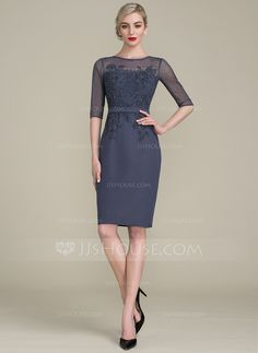 Sheath/Column Scoop Neck Knee-Length Zipper Up Sleeves 1/2 Sleeves Yes Other Colors General Plus Chiffon Lace Height:5.7ft Bust:33in Waist:24in Hips:34in US 2 / UK 6 / EU 32 Mother of the Bride Dress