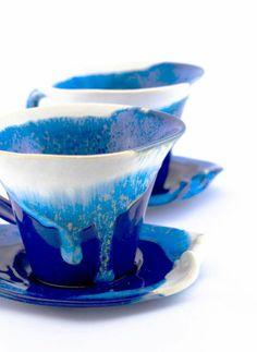 tasse à café originale blanc et bleu