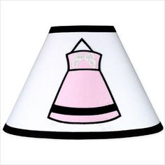 A fun lampshade for a pink, black and white princess bedroom