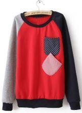Red Long Sleeve Polka Dot Pockets Embellished Sweatshirt $31.61