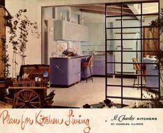 St Charles purple steel cabinets, 1950s