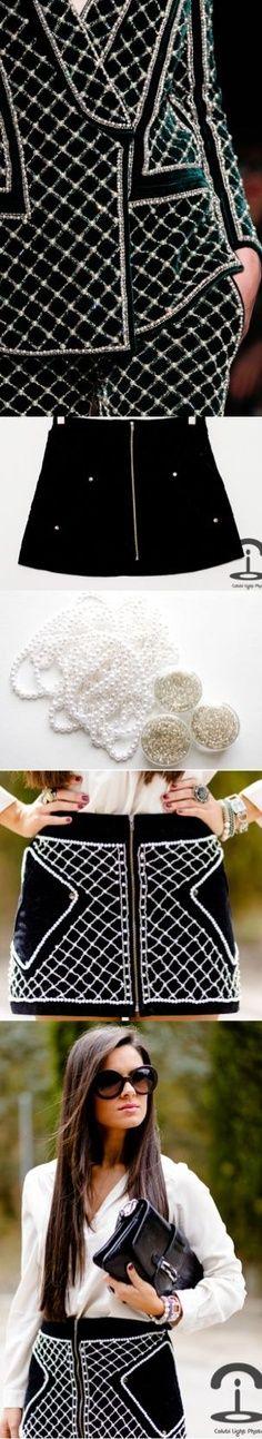 DIY Crimenes de la Moda - perals skirt - balmain style - falda negra con perlas - embellished