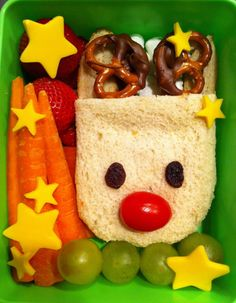 Bento Day 70  The Christmas countdown has begun. This little reindeer is taking a break to have some carrots. =)