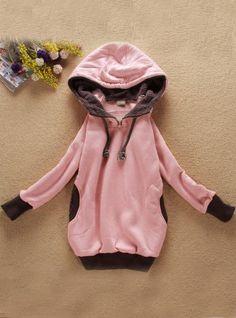 Pink Zipper Hooded Sweatshirt$37.00