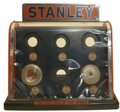 """TAPE MEASURE DISPLAY CASE by Stanley Tools. This """"Tool Box of the World"""" them hardware display item is in essentially unused condition. A great Stanley advertising item in hardware store new condition Stanley Tools, Tool Store, New Britain, Vintage Tools, Store Displays, Display Case, Retro, Tool Box, Tape Measure"""