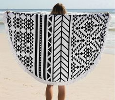 Black and White Stripes Round Beach Towels Cotton with Tassel