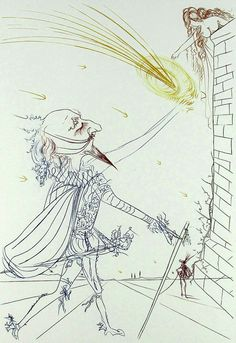 Salvador Dali, Cyrano de Bergerac and Roxanne, Engraving on Paper