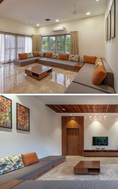 Contemporary House With a Simple Layout -family room -living room #livingroomstorage