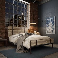 AMISCO - Dover Bed (12398) - Furniture - Bedroom - Industrial collection - Contemporary - Regular footboard bed