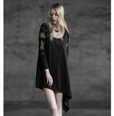 Cut Out Long Sleeves Black Steampunk Dress