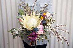 Tegan and Matt Wedding Flower Decorations, Wedding Bouquets, Wedding Flowers, Table Decorations, Wedding Ideas, King Protea, Paper Daisy, Sea Holly, Nativity