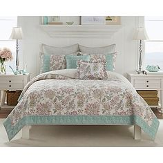 Create a light and airy ambiance in your bedroom with the lovely Claire Quilt. Dressed in a Jacobean floral in soft cream, aqua, khaki and coral hues, the beautiful bedding is the perfect way to bring a charming look and feel to any room's décor.