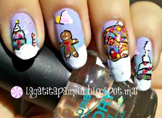 Gingerbread man, house, and Candy cane Christmas Nail Art