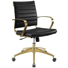 Jive Gold Stainless Steel Midback Office Chair - N/A (Gold Black), Modway Black Office Chair, Swivel Office Chair, Desk Chair, Drafting Chair, Executive Office Chairs, Contemporary Office, Inexpensive Furniture, Modern Furniture, Gold Furniture