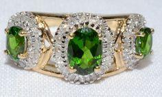 Vintage Three Green Stone Oval Cut and Diamond by LadyLibertyGold