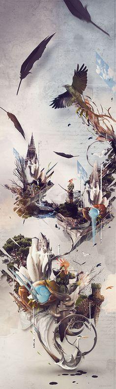 "Tableau / poster / affiche ""hometown"" by Xerty.  Edition limitée à 200 exemplaires."
