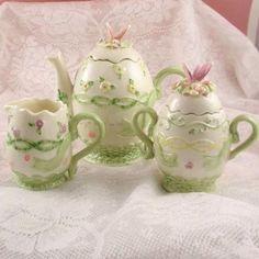 Butterfly ceramic novelty tea set teapot,sugar and creamer