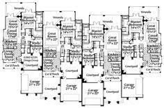First Floor Plan of Southwest   Multi-Family Plan 71639