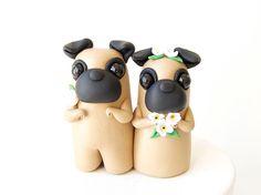 Pug Wedding Cake Topper by Bonjour Poupette on Etsy, $62.23