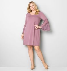 62bb2d1cdeb4 More trendy styles to love like the plus size Lace Bell Sleeve Dress  available in sizes