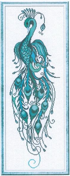 Alessandra Adelaide - AAN Peacock - Cross Stitch Pattern. Model stitched on white 30 Ct. fabric of your choice with DMC floss. Stitch Count: 93W x 292H.