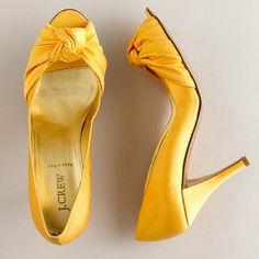 JCrew - Carmen Satin heels in Saffron
