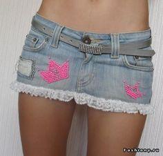 Классная джинсовая юбка с кружевом