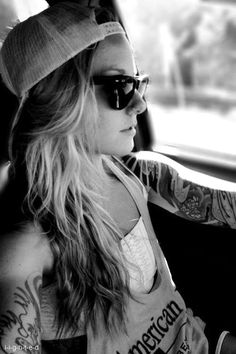 Sleeve tattoo.. So wish I could pull this off and look as good as she does .. Love ink;)