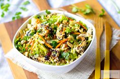 Healthy Paleo Chinese Chicken Salad  2 cups shredded carrots 1 head of a large Napa Cabbage, chopped into very thin strips 1/2 cup chopped cilantro 2 Tbs black sesame seeds 2 Tbs white sesame seeds 1/2 cup cashews (optional) 1 rotisserie chicken, torn into shreds Toss all in a ziplock bag - add salad dressing - shake and enjoy