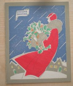 Vintage Art Deco Christmas Card Woman in Red Wind Driven Snow Houses FOR SALE • $1.90 • See Photos! Money Back Guarantee. Here is a vintage Art Deco Christmas greeting card featuring a woman in red walking through wind driven snow. She is carrying a large basket of holly; a row of 332100999447