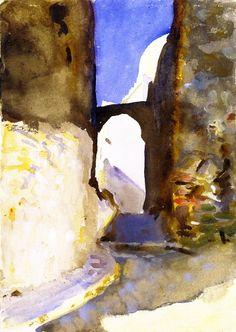 The Athenaeum - Street, Tangier (John Singer Sargent - )