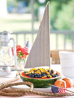 Fruit Salad Sailboat. Fun Serving Idea for a 4th of July Picnic