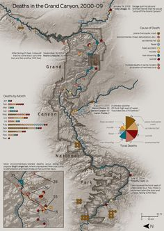 Map of Deaths in the Grand Canyon, 2000-09