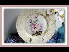 Plato decorado con decoupage y craquelado casero con cola blanca (pegame...