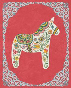 Floral Wycinanki Flower Style Swedish Dala Horse Folk Art Floral Housewarming Gift 8 x 10 or 11 x 14 Nursery Scandinavian Art Floral, Folklore, Scandinavian Folk Art, Creta, Folk Embroidery, Embroidery Ideas, Horse Art, Flower Fashion, Christmas Art