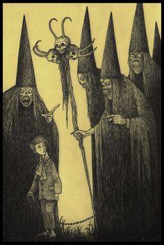 5 pointy hats by John Kenn Monster Drawing, Monster Art, Arte Horror, Horror Art, Creepy Drawings, Arte Obscura, Don Kenn, Creepy Pictures, Macabre Art