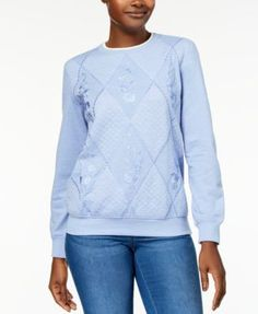 Alfred Dunner Pastel Skies Embellished Embroidered Quilted Sweatshirt - Silver XL