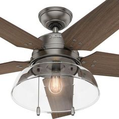 Hunter Lindbeck 52 in. LED Outdoor Brushed Slate Ceiling Fan-59209 - The Home…