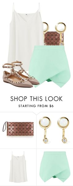 """""""Untitled #1612"""" by triskid ❤ liked on Polyvore featuring Bao Bao by Issey Miyake, Pamela Love, Uniqlo and Valentino"""