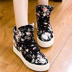 sports shoes 7192d 696ed Mujer Zapatos Tela Primavera Otoño Confort Plataforma Con Cordón para Casual  Al aire libre Negro Blanco