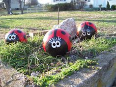 """Here are a few more bowling balls that I turned into """"Lady Bugs"""". These were painted with a coat of primer, two coats of red spray paint, and black accents with acrylic paint. I then gave these little bugs two coats of clear sealer, and as easy as that.....I have lady bugs."""
