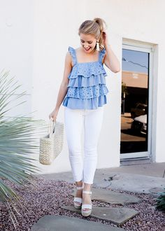 Whether you're looking for something for July or just a cute summer blouse to wear on evenings spent with friends, this blue ruffle tank is for you! Southern Outfits, Southern Fashion, Preppy Outfits, Preppy Style, Cute Outfits, Fashion Outfits, Fashion Fashion, Southern Belle Style, Fashion Tips