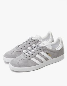 on sale 565b2 dfc4a Classic Gazelle sneaker from Adidas. Grey nubuck upper with textured White  leather accents. Lace